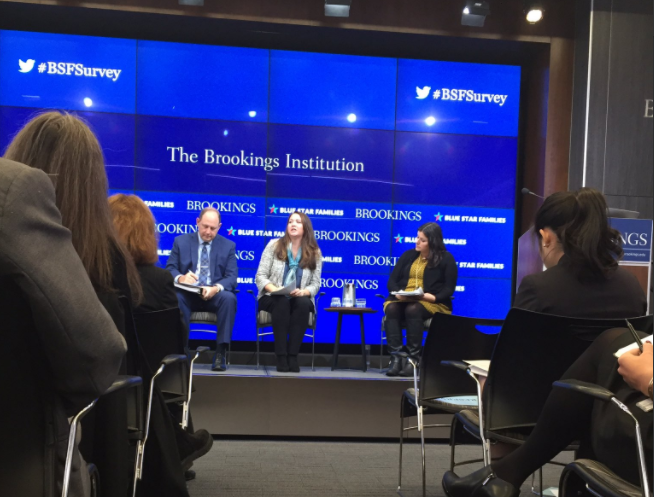 Cristin Shiffer, of Blue Star Families, speaks on a panel about the Annual Military Family Lifestyle Survey at Brookings Inst. on November 16th | @christinoschiffer