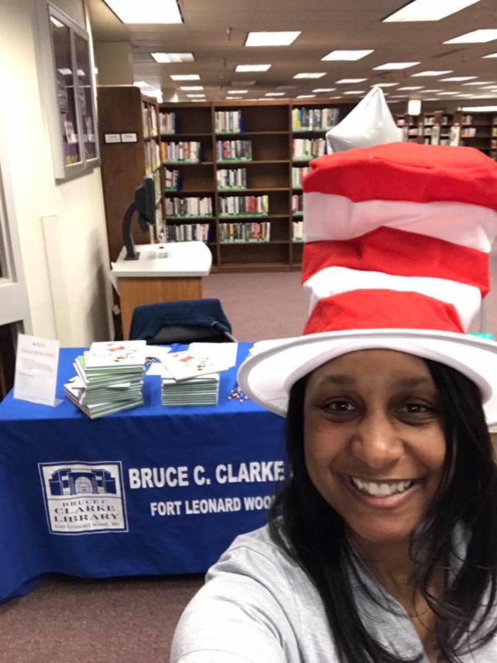 BSF volunteer Tai Kimes at Dr. Seuss event photo