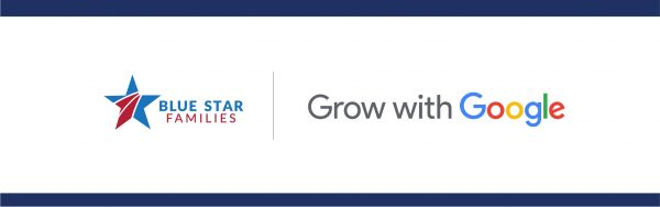 Grow with Google logo with blue bars on top and bottom