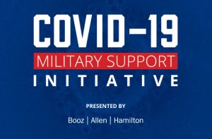 COVID-19 Military Support Initiative (CMSI) graphic with Blue Star Families, Association of Defense Contractors, Booz Allen Hamilton
