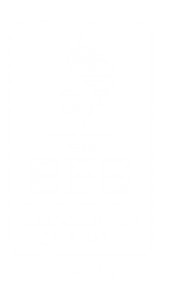 Better Business Bureau BBB Accredited Charity Reverse White Vertical logo w/ URL