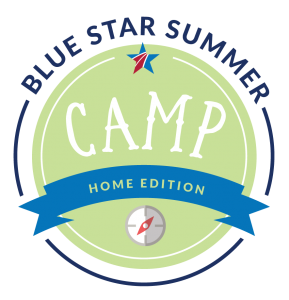 Blue Star Summer Camp logo with a blue ribbon that says Home Edition, and a compass