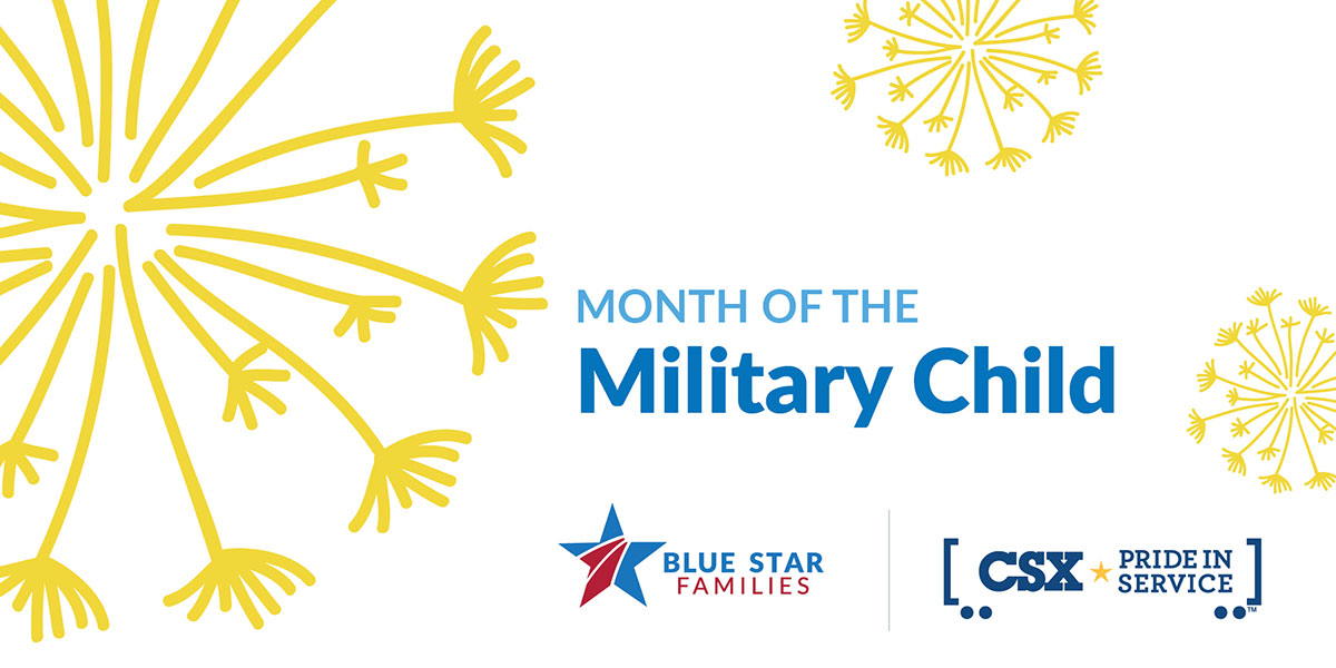 Month of the Military Child Blue Star Families CSX graphic image